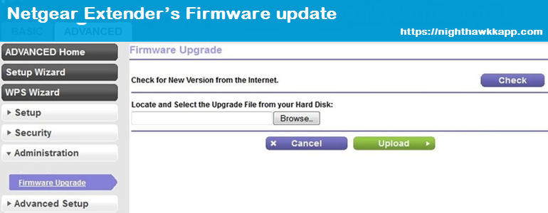Netgear Extender Firmware update using web interface.